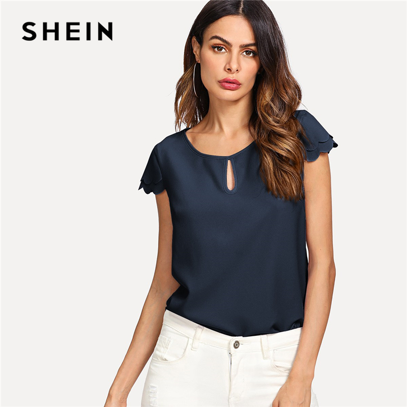 SHEIN Navy Keyhole Front Round Neck Layered Scallop Cap Sleeve Blouse Top Women Summer Plain Office Lady Casual Tops And Blouses