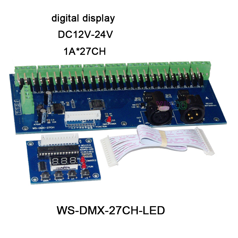 27channels DMX512 decoder series,DC12V-24V;with XRL 3P RJ45 27CH led RGB controller for led strip light led lamp wholesale 1pcs dmx 27ch rj45 led digital display led dimmer 1a 27ch dmx512 xrl 3p decoder controller for rgb led strip lights