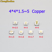 цена на ChengHaoRan 10pcs LCD patch tact switch 4X4X1.5H/1.6/1.7/2/2.5/3/5 copper button waterproof tact switch display button switch