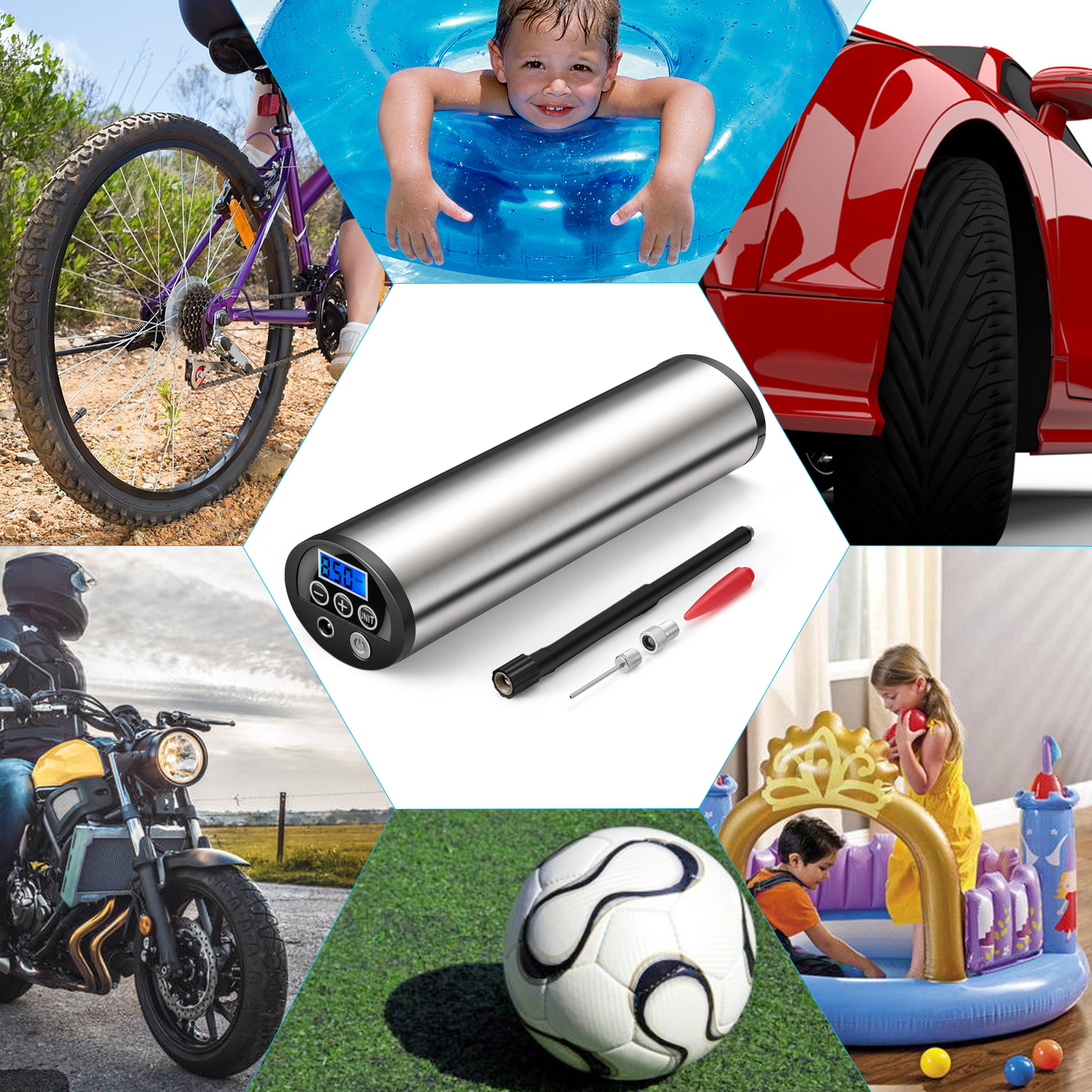 Mini Portable Electric Air Pump with LCD Display For Tyre and Football 14