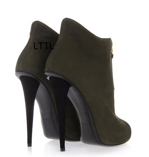 Trendy Design Army Green Sexy Peep Toe Ankle Boots Women Classy Instep Zipper Stiletto High Heel Sandal Booties Rome Style Shoes