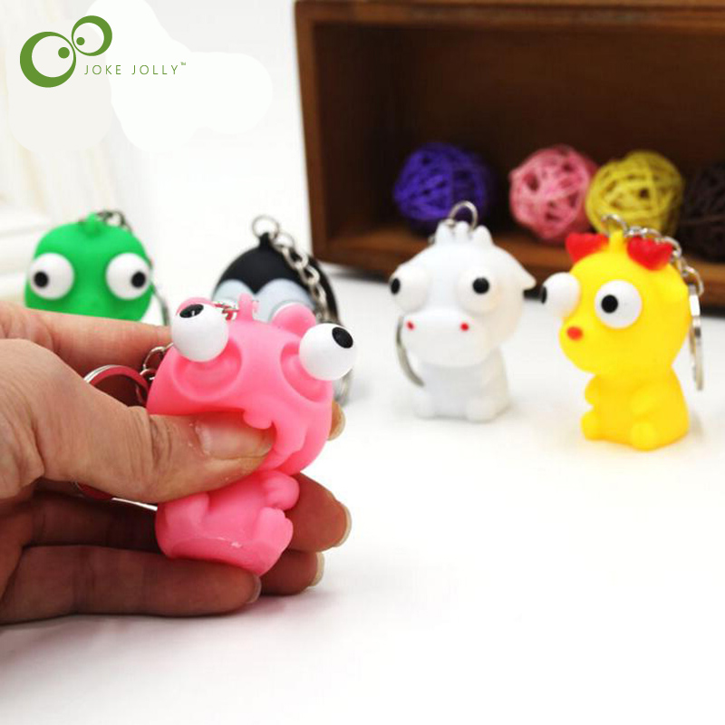 Original 1pc Mini Animal Anti Stress Ball For Bag Accessories Fun Antistress Extruding Big Raised Eyes Doll Squeezing Pandent Bag Parts & Accessories