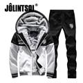 Jolintsai Fleece Sporting Suit Men Tracksuit Sweat Suits Mens 2017 Winter Hoodies Set Men Thick Hoodie Sweatershirts Sets M-4XL