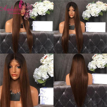 Full 150 density 1b/30 ombre baby hair virgin Human Hair Full Lace Hair Wig straight Glueless Lace Front wigs for black women