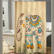 NEW!!!Waterproof Polyester Cartoon Flower Elephant Horse Shower Curtain Panel Sheer Home Bathroom 12 Hooks Set Gift