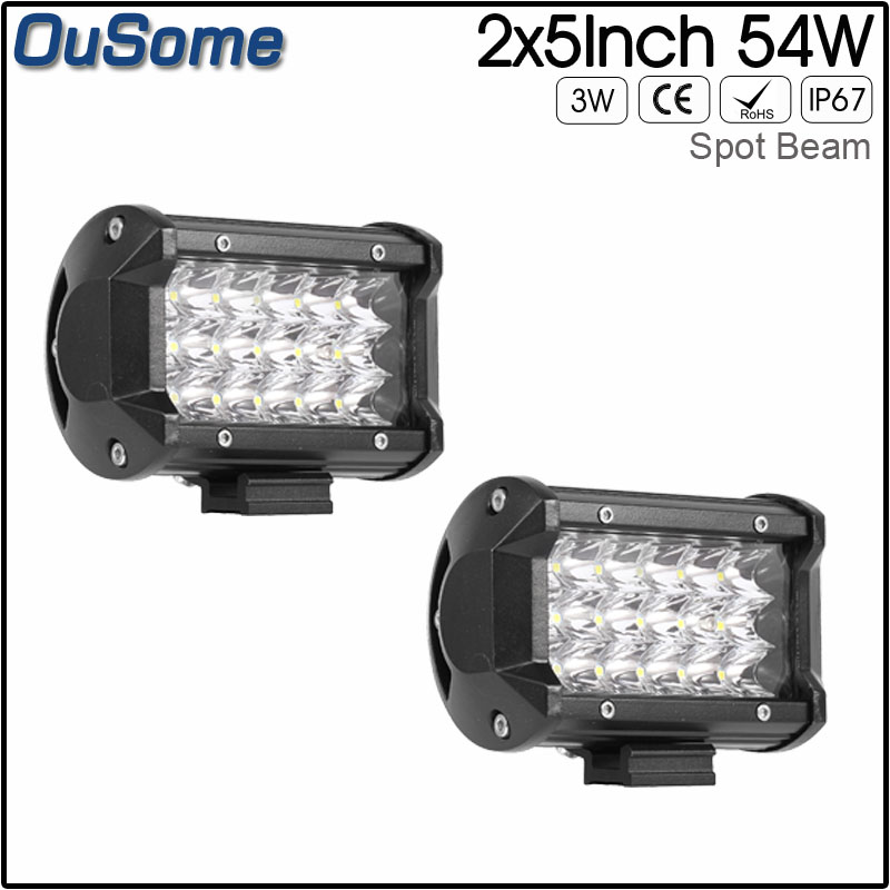 цена на 10-30V DC 4x4 truck car ATV UTV 2 pack 5 54W spot beam led work light for JEEP boat tractor waterproof