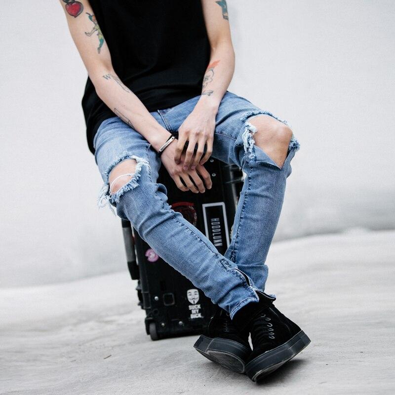 2017 New Fashion Slim Mens Pencil Pants Ripped Denim Pants for Men Cool Jeans Cotton
