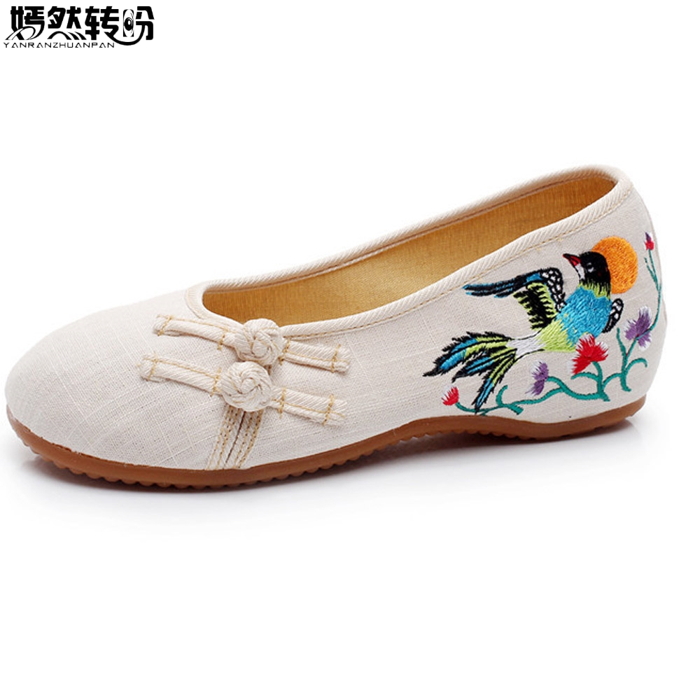 Vintage Women Flats Shoes Slip On Cotton Birds Embroidery Comfortable Old Peking Ballerina Ballet Shoes Woman Sapato Feminino vintage embroidery women flats chinese floral canvas embroidered shoes national old beijing cloth single dance soft flats