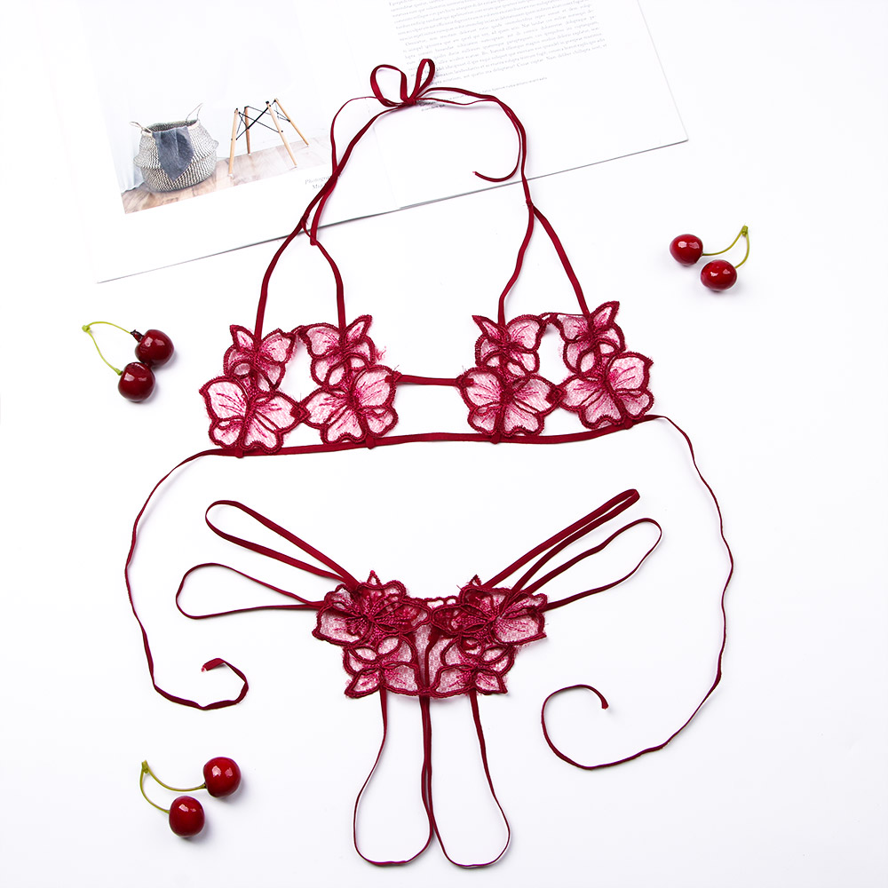 Sexy Women Lingerie Bra Set Lace Embroidery Flower Unpadded Bra Sets Sexy Bra With G-string Open Cup Crotch Ultra-thin Bra Set