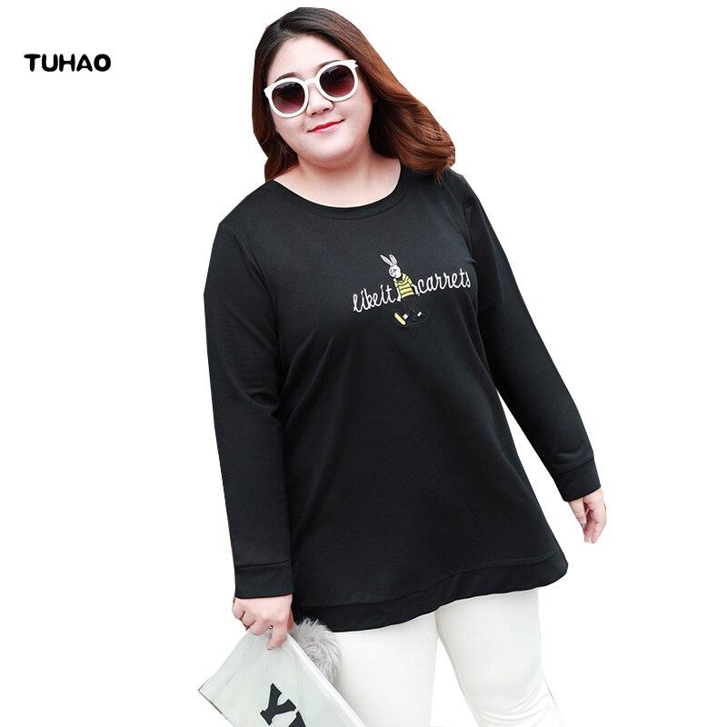 TUHAO Big Size 7XL 6XL 5XL 2018 Casual Black Women Shirts Autumn Embroidery Long Sleeve Shirt Women Loose Lady T shirt Tops YBFS