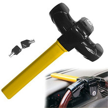 Universal Anti Theft Diameter 3.5cm (1.4in) Steering Wheel Lock Device Heavy Duty T Style Car Steel Security Device Parking Lock