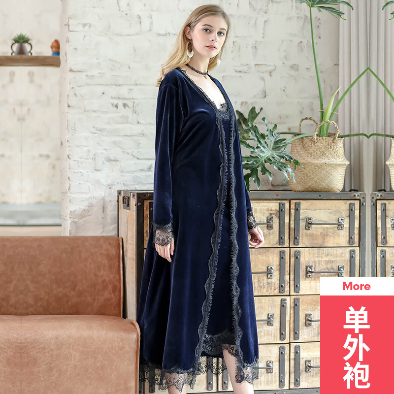 Gold velvet single nightgown Autumn and winter ladies long lace side slit single Sleepwear Bride Robes