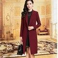 Traje Casual Coat Parka Mujeres Grandes yardas Otoño abrigo Largo ropa de Las Mujeres del color Puro Abeigos mujer BN678