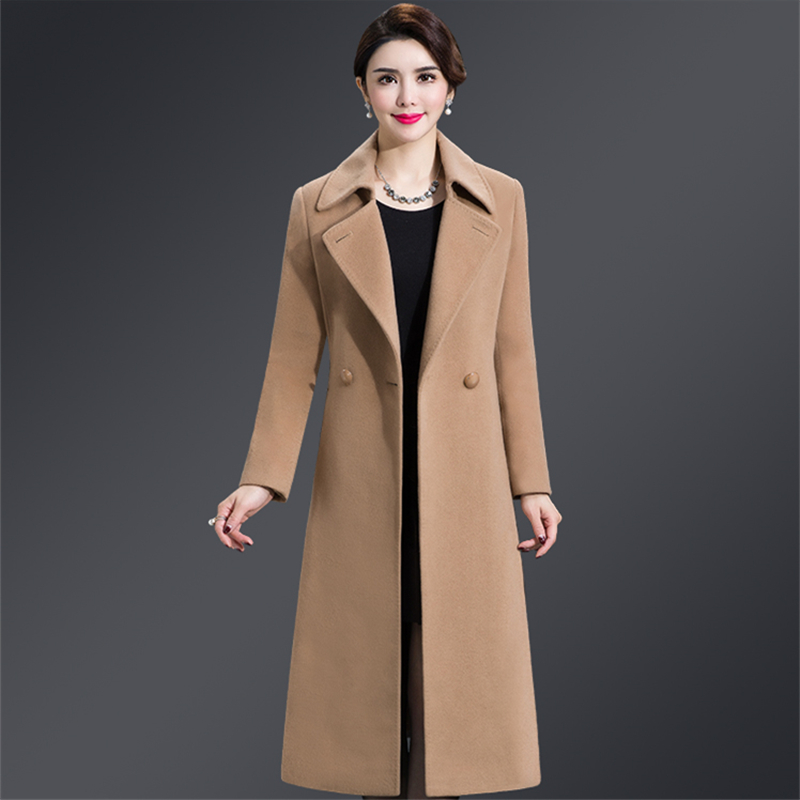 Plus Size 4XL Casual Women Woolen Coat 2019 Autumn Winter Single Breasted Wide waisted Turn down