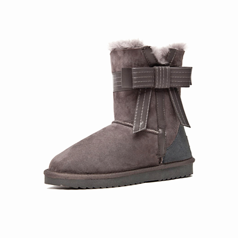 STARFARM Bowknot Bootie Wool Boots Ankle Boots Leather Bootie Winter Snow  Boots Russian Boots Women Shoes Woman Warm Shoes Tan-in Ankle Boots from  Shoes on ... 839fcf0971ca