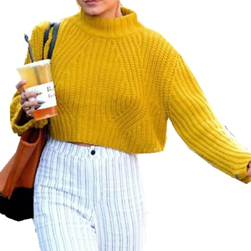 hirigin solid sunny yellow sweater one size Women Long Sleeve Knitted Loose Sweater Outwear Coat Casual Sweater women female