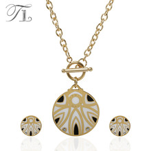 ФОТО tl 316l stainless steel jewelry sets enamel ethnic rome digital with crystal stone african jewelry necklace earrings for woman