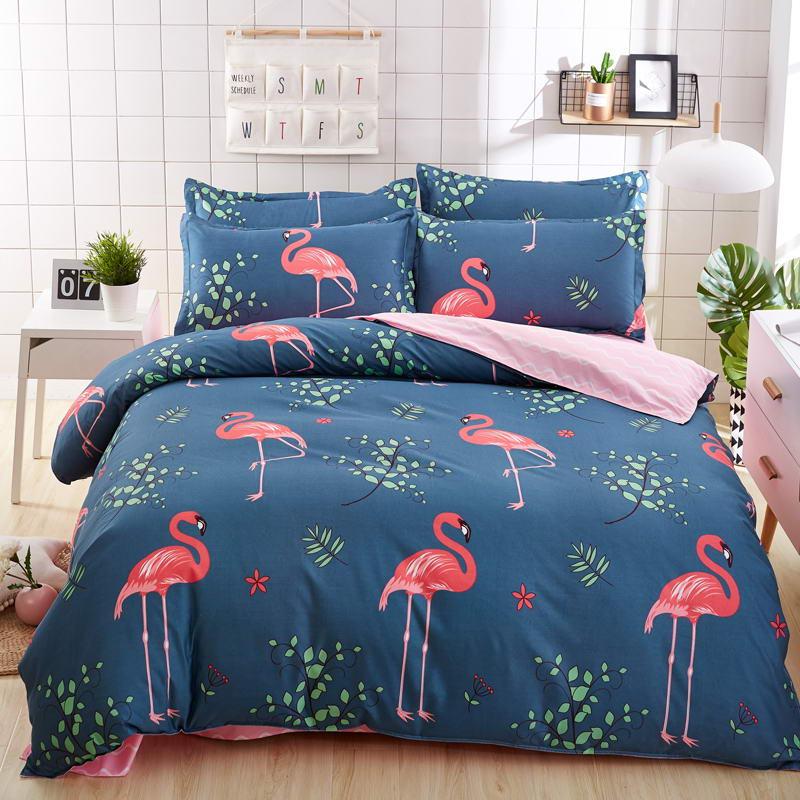 Autumn and Winter Home Bedding Set Blue Love Bed Set Flat Sheet 3/4 Pcs Duvet Cover Bed Sheet Pillowcase Queen Size Full Twin