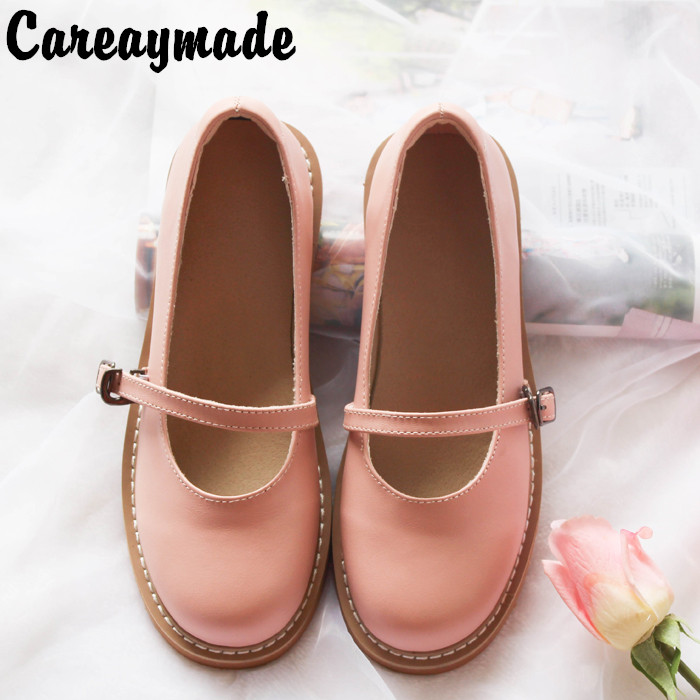 Careaymade 2019 spring and autumn new Japanese RETRO art Top layer Genuine leather flat bottom single