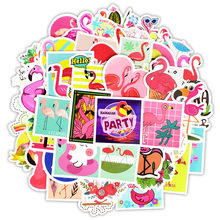 50Pcs Pink Flamingos Stickers Animal Cartoon Decorative Laptop Skin Sticker DIY Lable Mixed Decals For MacBook/HP/Xiaom