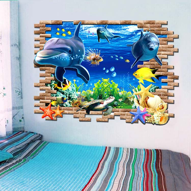 Us 5 17 18 Off Large 3d Wall Sticker Dolphin Ocean World Decals Kids Room Mural Decor Home Art In Wall Stickers From Home Garden On Aliexpress Com