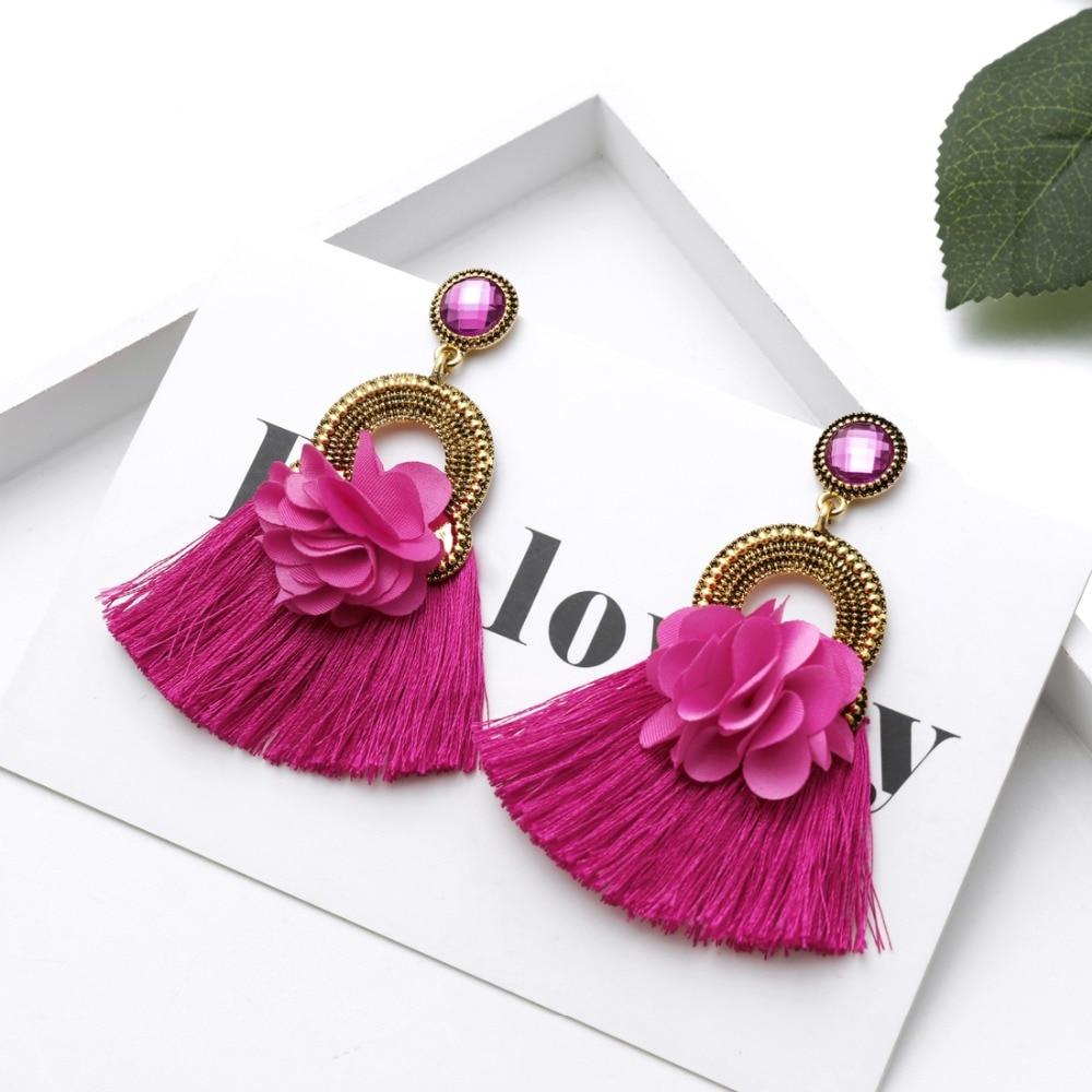 ZOSHI Bohemian Earring Long Tassel Drop Earrings For Women Girl 2020 Fashion Flower Crystal Earring Brincos Female Jewelry
