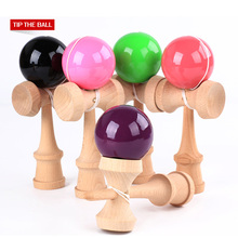 Free Shipping Wooden Toys Outdoor Sports Toy Ball Kendama PU Paint 18.5cm Strings Professional Adult Leisure