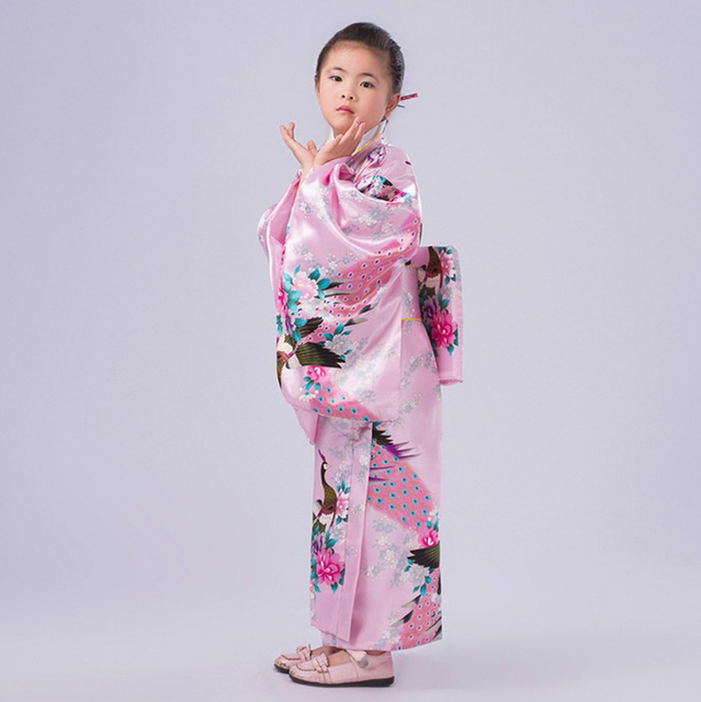 63fb700a941c Pink Floral Child Novelty Party Dress Japanese Baby Girl Kimono Children  Vintage Yukata Kid Girl Cospaly Costumes Flower JK090