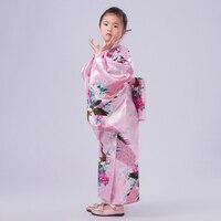 Pink Floral Child Novelty Party Dress Japanese Baby Girl Kimono Children Vintage Yukata Kid Girl Cospaly Costumes Flower JK090