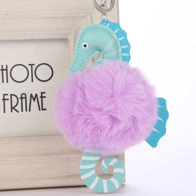 Fashion Faux Fofo Sopro Bola Adorável Seahorse Pompom Keychain Chave do carro Anel Cadeia bolsa Das Mulheres de Couro Jóias pom pom 2019