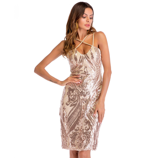 2018 elegant party dress women summer floral Champagne mini plus size beach  sequined dress evening bandage short sexy dress 9cf32ec50163