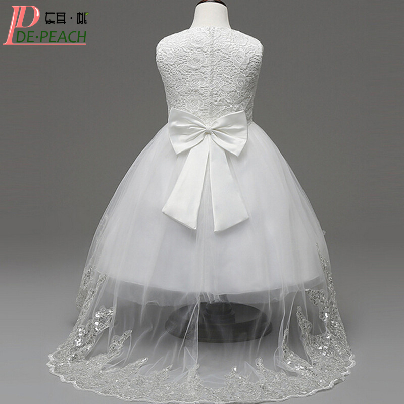 New summer baby girls lace dress sleeveless white flowers children wedding and party dresses with trailing cute bow kids clothes ems dhl free 2017 new lace tulle baby girls kids sleeveless party dress holiday children summer style baby dress valentine