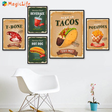 American Classic Hot Dog T-bone Try Me Snack Bar Wall Art Canvas Painting Nordic Poster For Kitchen Decorative Pictures Unframed цена