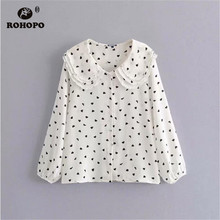 ROHOPO Female Autumn Chiffon Ruffled Collar Heart Printed Preppy Girl Casual Flared White Black Top Blouse #AZ9294