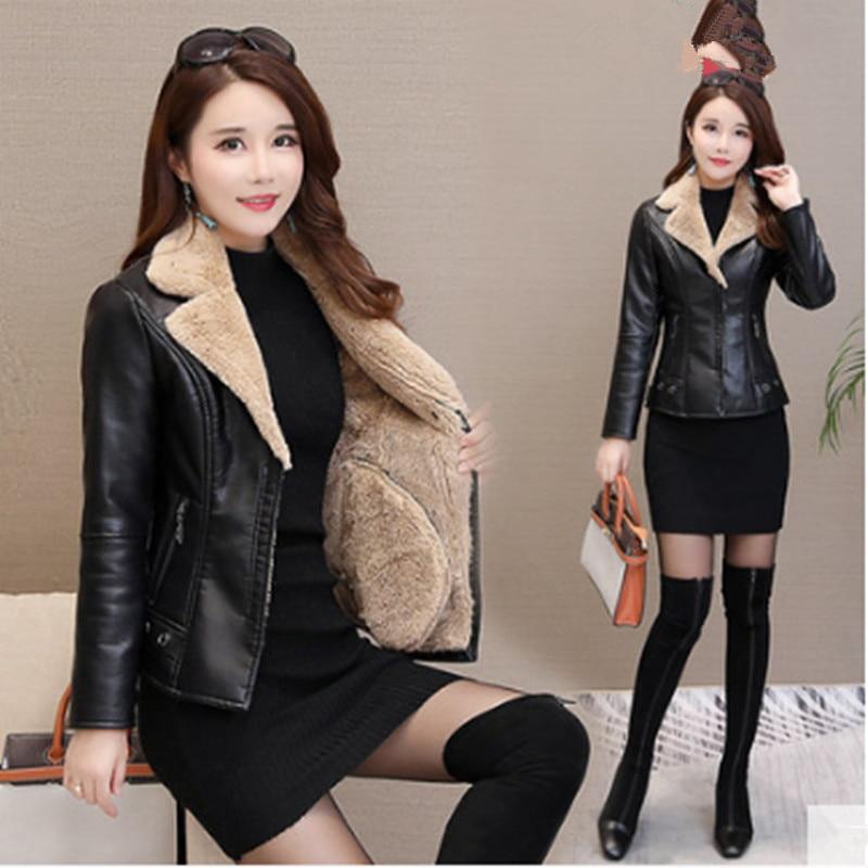 Slim F5 Khaki Plus gray Cuir Femmes Court Veste Velours De Des En Manches Mode Chaud À Épaississement Hiver Coréenne Nouvelles Longues wPzHU