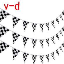 Free Shipping  xvggdg  10M 38pieces/set14cmx21cm Checkered Racing Flag Checkered Race Car Pennant Flags Banners mesh checkered flowy dress