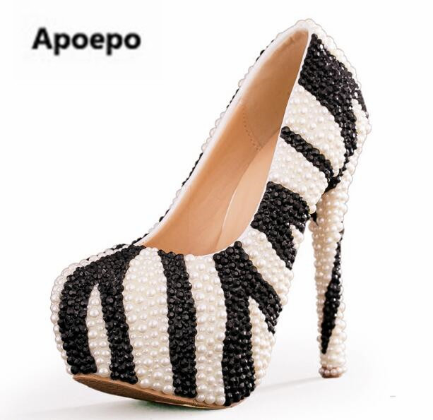 Apoepo Brand Black White Zebra Pattern Crystal Embellished High Heel Shoes Handmade Platform Wedding Heels Round Toe Party Shoes mos 5s rc lipo battery 18 5v 25c 16000mah for rc aircraft car drones boat helicopter quadcopter airplane 5s li polymer batteria