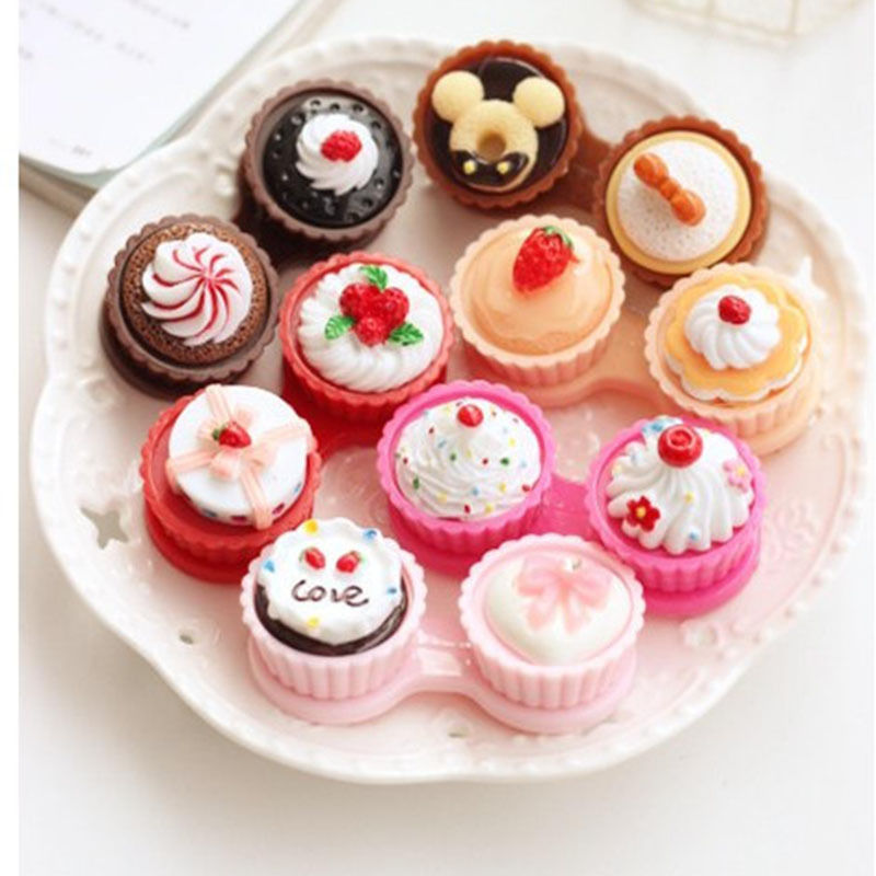 1pcs Easy Travel Cartoon Cake Cream Shape Contact Lens Case Box Set Container CN