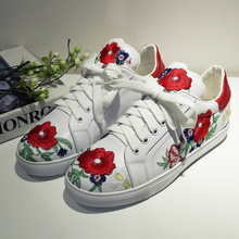 Women's Flats Espadrilles Genuine Leather Chinese Traditional Embroidery Leisure Female Footwear Lace-up Flower Shoes for Women