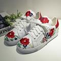 Mujeres Pisos Alpargatas de Cuero Genuino Chino Tradicional Bordado Femenino del Ocio Calzado con cordones Zapatos de La Flor para Las Mujeres