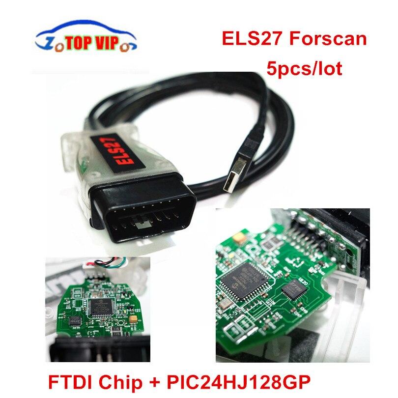5 шт./лот Бесплатная доставка els27 forscan сканер FTDI чип для многих марок автомобилей OBD2 Диагностический Адаптеры для сим-карт Поддержка ELM327 J2534