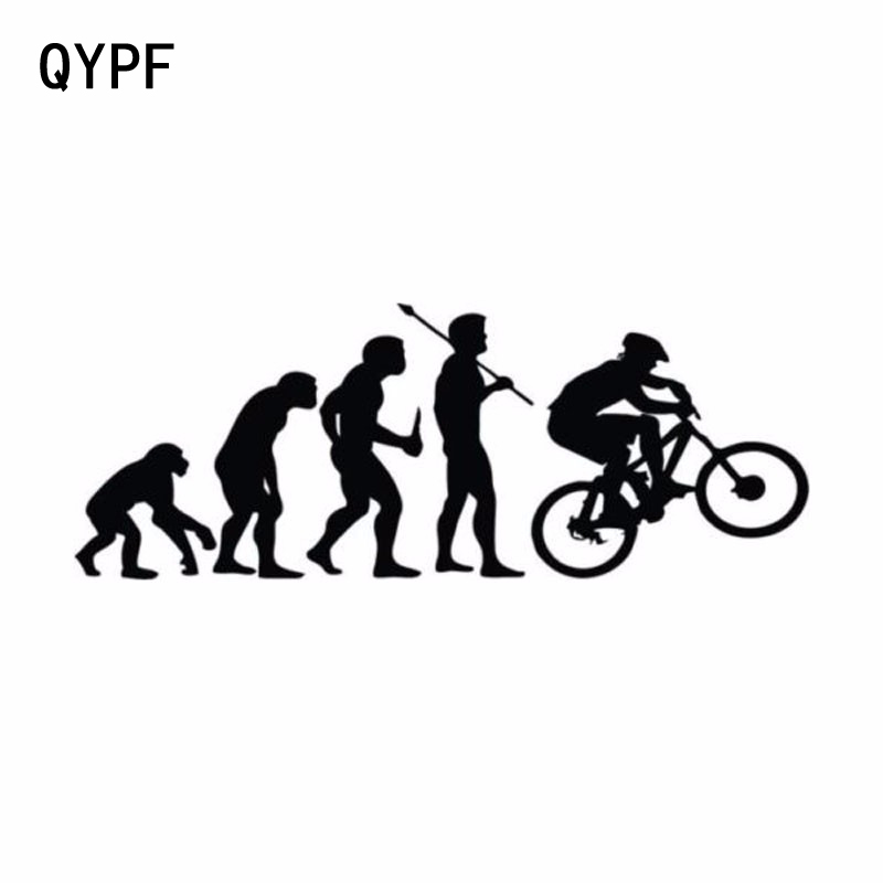 QYPF 15.2CM*5.7CM Personality Climbing Bike Evolution Vinyl Car Stickers S2-0033