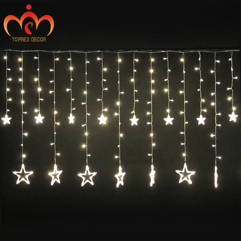 2.5x1.2m 248LEDs flashing LED Five star LED curtain lights waterproof christmas decoration lights wedding lights party outdoor snowscape print christmas waterproof shower curtain