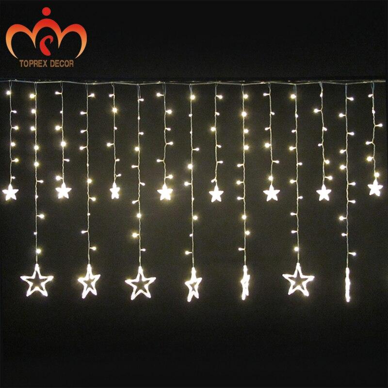 2.5x1.2m 248LEDs villogó LED Ötcsillagos LED függönyfények - Üdülési világítás
