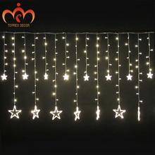 2.5x1.2m 248LEDs blikající LED Pět hvězd LED záclony světla vodotěsné vánoční dekorace světla svatební osvětlení strana venkovní