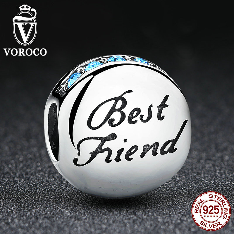 New Fashion Real 925 Sterling Silver Best Friend Beads Charms fit Pandora Bracelets Necklace Friendship Gift