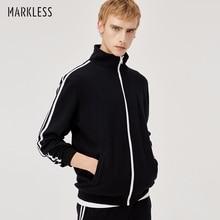 Markless спортивная куртка для мужчин Осень Чистый хлопок мужчины s фитнес тренировочная Куртка jaqueta masculina chaqueta hombre 8415