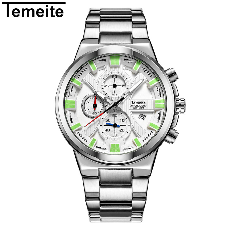 Top Brand TEMEITE Luxury Men Fashion Sports Watches Men's Quartz Date Clock Man Stainless Steel Wrist Watch Relogio Masculino new men stainless steel gold watch luxury brand auto date mens quartz clock roman scale sports wrist watches relogio masculino