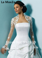 Custom made white lace wedding wraps shawls long sleeve sexy high collar party evening puff sleeve bridal beige women jackets