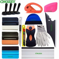 Car Vinyl Film Wrap Scrapers Window Tinting Soft Rubber Squeegee Magnet Holders Gloves Knife 3D Carbon